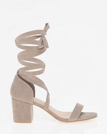 Faux Suede Lace-Up Sandal