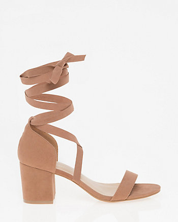 Faux Suede Lace-Up Sandal
