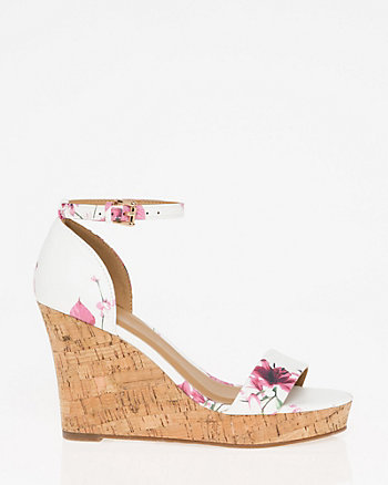 Floral Print Ankle Strap Wedge Sandal