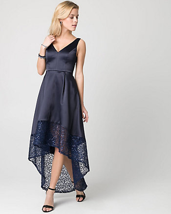 Lace & Satin V-Neck Gown
