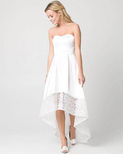 LE CHÂTEAU: Lace & Satin Strapless Gown