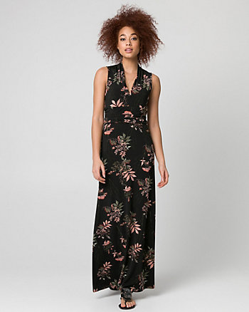 Floral Print Knit V-Neck Maxi Dress