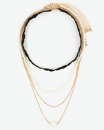 Lace Choker & Pearl-Like Necklace