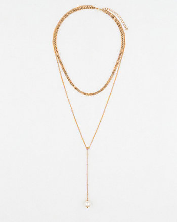 Chain Link & Pearl-Like Y-Necklace