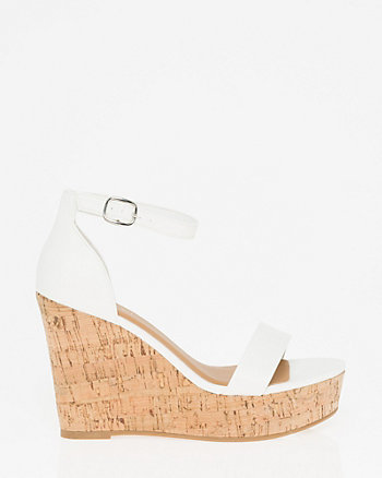 Leather-Like Wedge Sandal