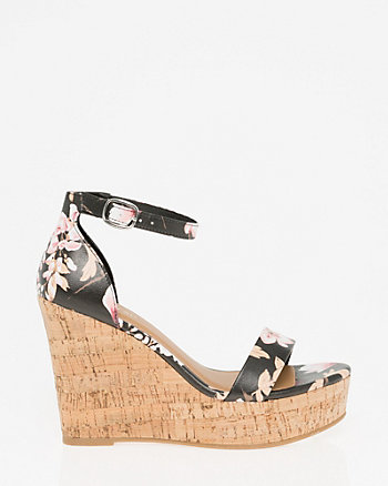 Floral Print Faux Leather Wedge Sandal
