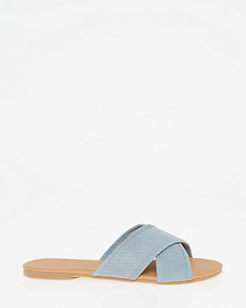 Suede-Like Open Toe Criss-Cross Slide
