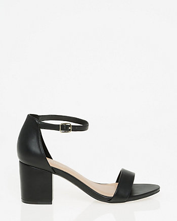 Leather-Like Ankle Strap Sandal