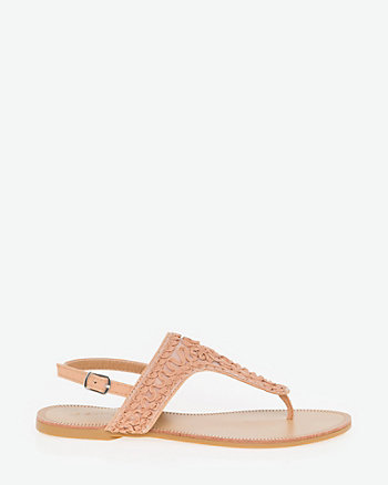 Embroidered Slingback Thong Sandal