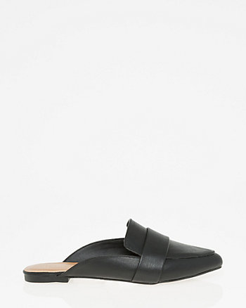 Leather-Like Pointy Toe Backless Loafer