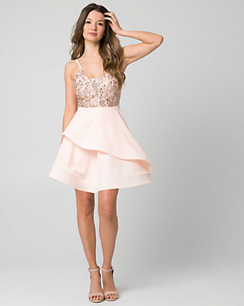 Sequin & Lace Scoop Neck Party Dress