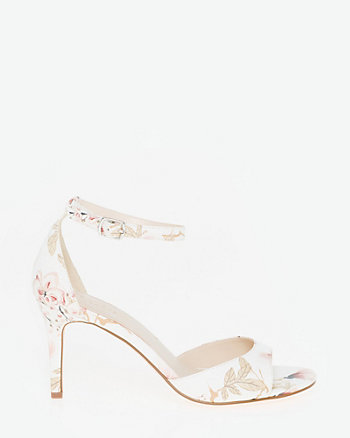 Floral Print Leather-Like Ankle Strap Sandal