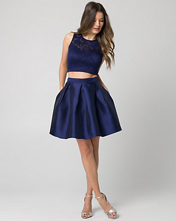 Lace & Knit Two-Piece Party Dress