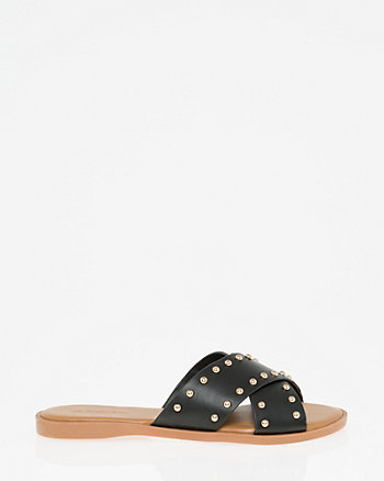 Studded Criss-Cross Slide Sandal