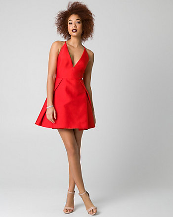 Organza V-Neck Party Dress