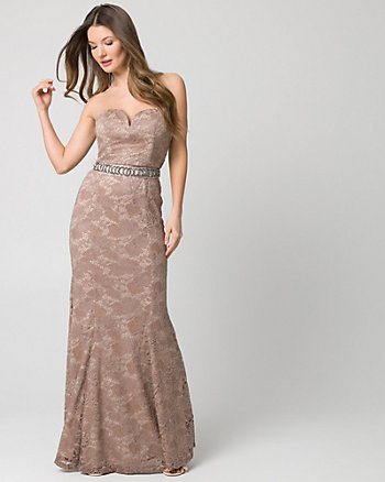Embellished Lace Sweetheart Gown