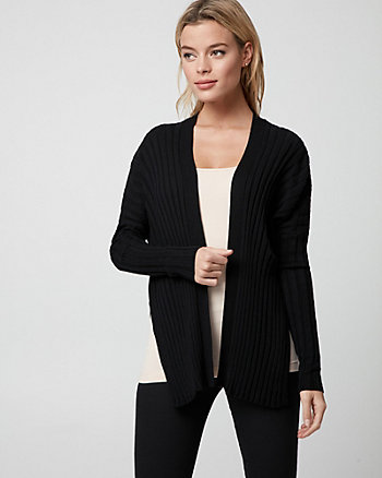 Rib Cotton Blend Open-Front Cardigan