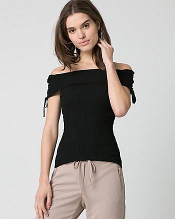 Rib Viscose Bend Foldover Neck Sweater