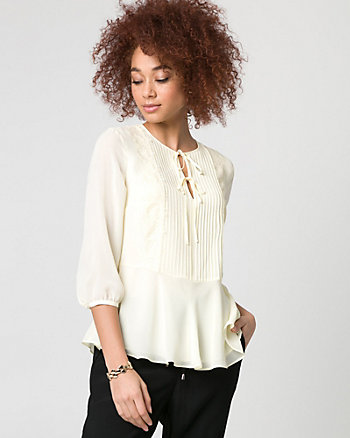 Lace & Chiffon V-Neck Blouse