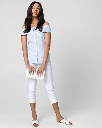 Stripe Stretch Poplin Cold Shoulder Blouse