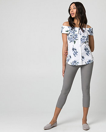Floral Print Stretch Poplin Blouse