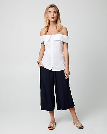 Stretch Poplin Cold Shoulder Blouse