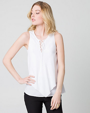 Crêpe de Chine Lace-Up Blouse