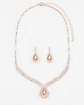 Gem Earrings & Necklace Set