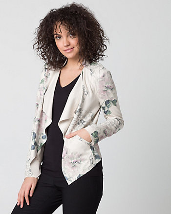 Floral Print Suede-Like Throwover