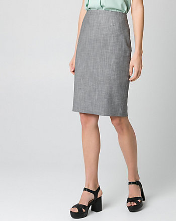Crosshatch Viscose Blend Pencil Skirt