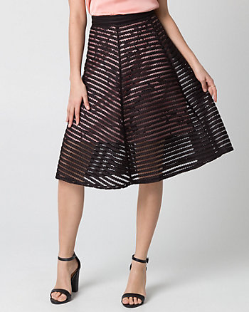 Floral Print Bonded Mesh Shadow Skirt