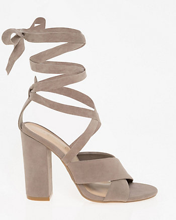 Velvet Lace-Up Sandal