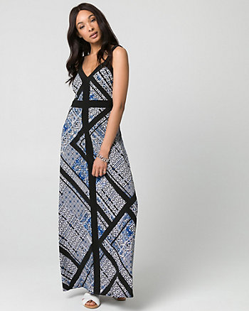Scarf Print Knit V-Neck Maxi Dress