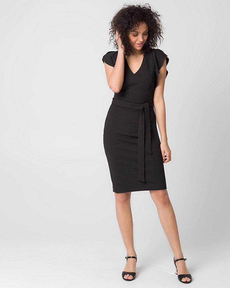 2ebc57cad3 Knit Crêpe V-Neck Dress