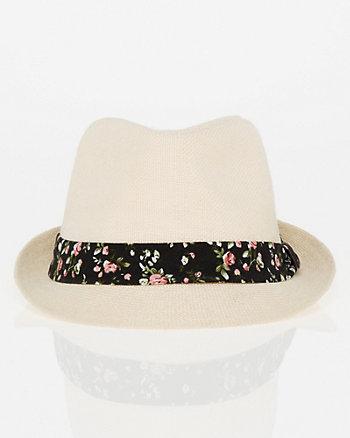 Floral-Band Linen Fedora Hat
