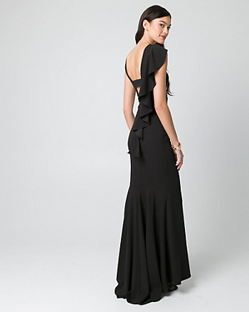 Knit Crêpe V-Back Ruffle Gown