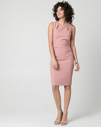 Piqué Boat Neck Shift Dress
