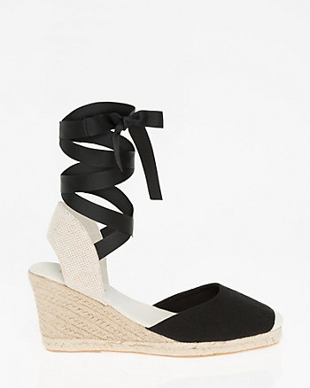Canvas Lace-Up Espadrille Wedge