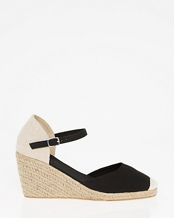 Canvas Ankle Strap Espadrille Wedge
