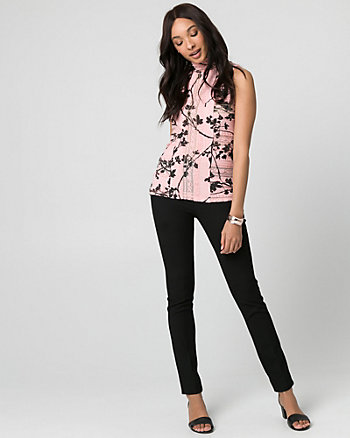 Floral Print Lace Mock Neck Top