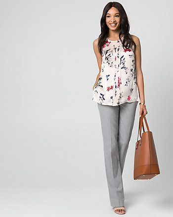 Floral Print Satin Crew Neck Pleated Blouse