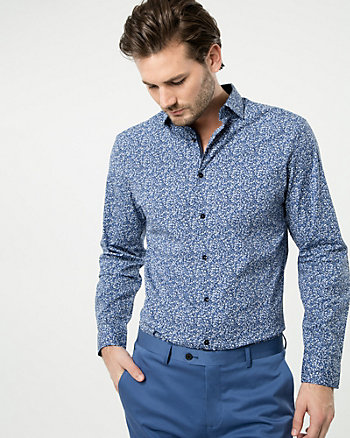 Printed Cotton Blend Tailored Fit Shirt