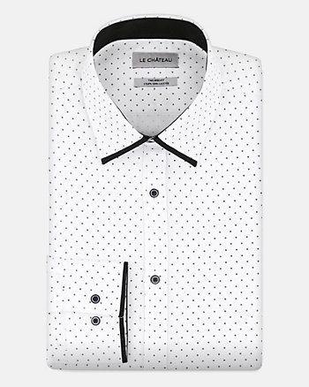 Tonal Cotton Blend Tailored Fit Shirt