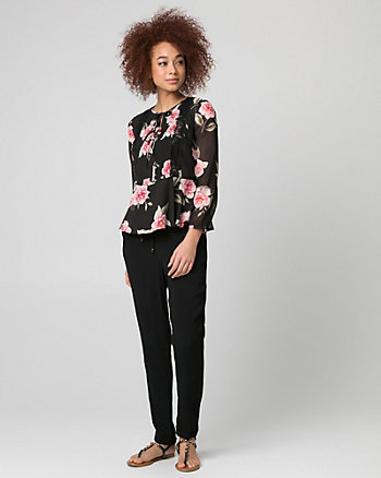 Floral Print Lace & Chiffon V-Neck Blouse