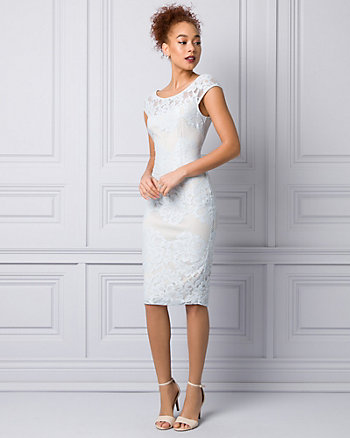 Lace & Mesh Scoop Neck Shift Dress