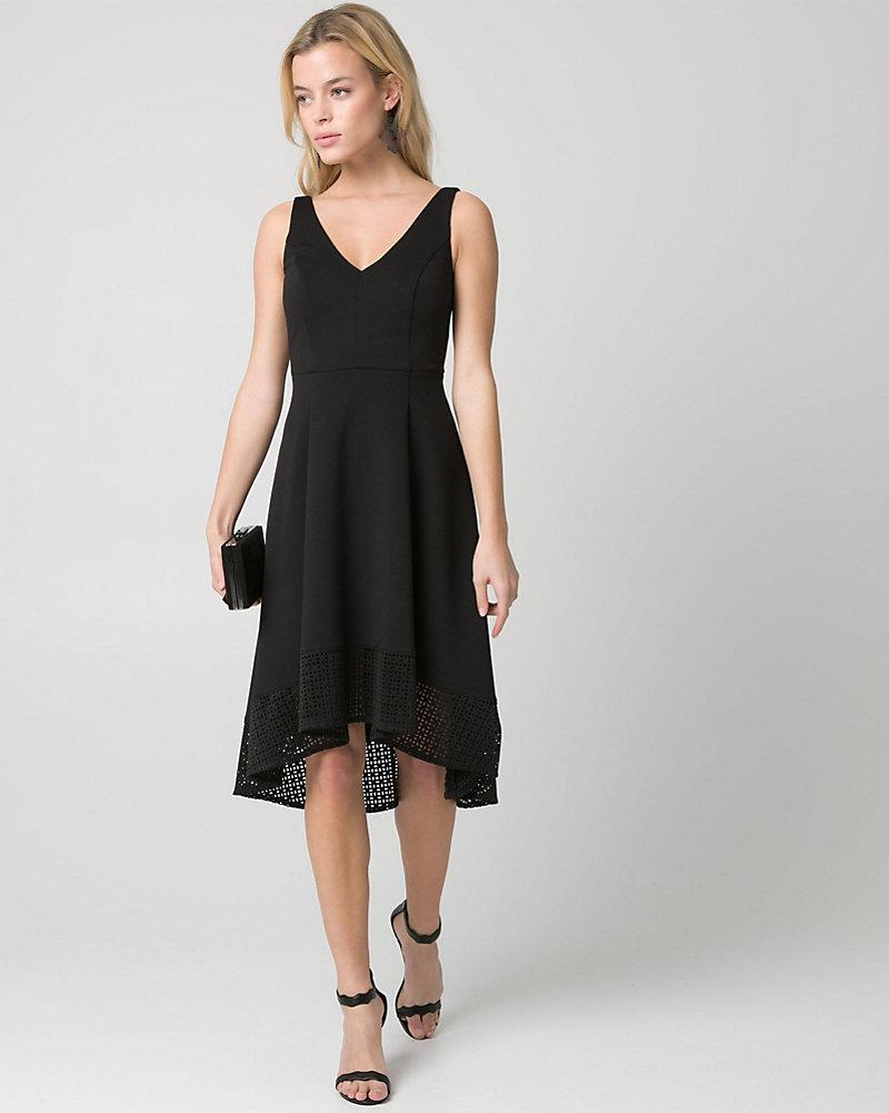 Black dress under knee - Laser Cut Scuba Knit V Neck Dress