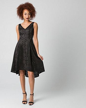 Laser Cut Scuba Knit V-Neck Dress