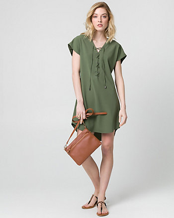 Crêpe de Chine V-Neck Dress