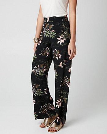 Floral Print Viscose Crêpe Wide Leg Pant