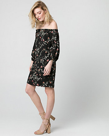 Floral Crêpe de Chine Off-the-Shoulder Dress